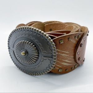Fossil Brown Leather Studded Concho Belt